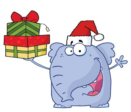 Christmas Elephant Holds Up Gifts  Illustration