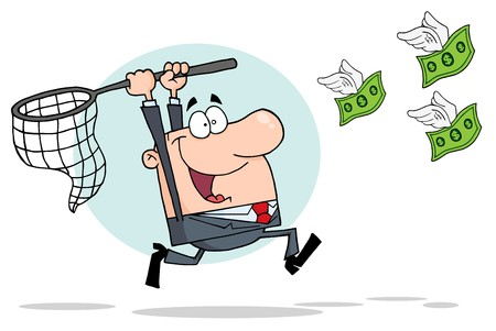 cartoon money: Businessman Chasing Money