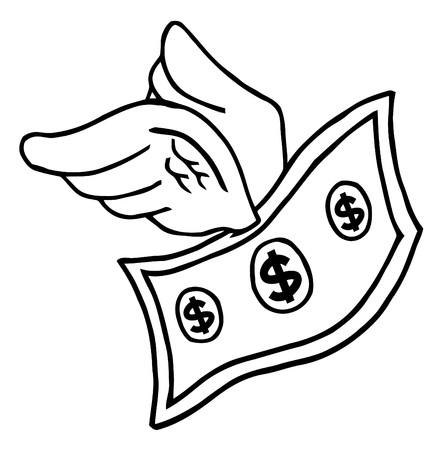 cash money: Outlined Flying Dollar  Illustration