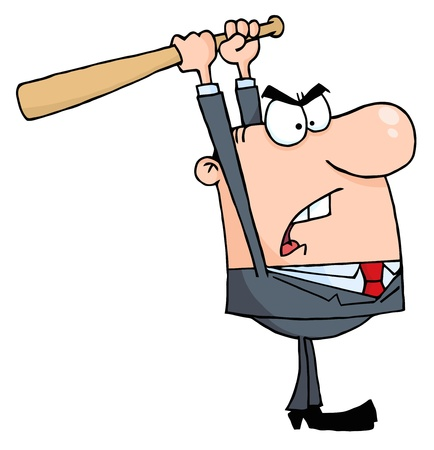 savagery: Angry Businessman With Baseball Bat  Stock Photo