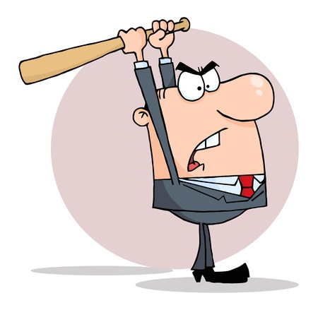 crazy: Angry Businessman With Bat