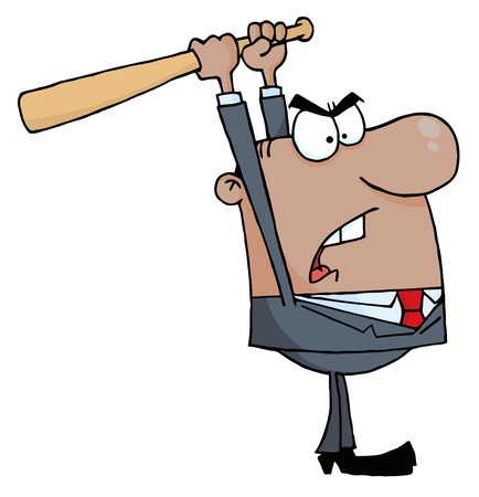 savagery: Angry African American Businessman With Baseball Bat