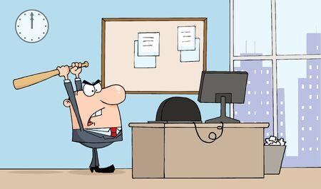 empresario enojado: Empresario enojado con Bat In Office