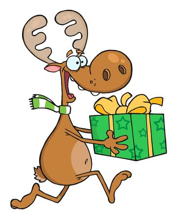 guileless: Happy Reindeer Runs With Bag  Stock Photo