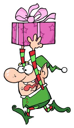 Happy Santas Elf Runs With Gift photo