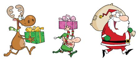 clause: Happys Santa Claus,Elf and Reindeer Runs With Gifts