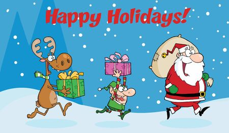 pointy ears: Happy Holidays Greeting With Santa Claus,Elf and Reindeer Runs With Gifts