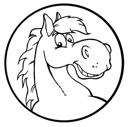 Outlined Happy Cartoon Horse  Banque d'images