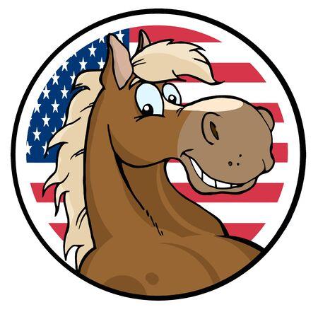 chevaux noir: Heureux Horse de dessin anim� au devant du drapeau des �.-u.
