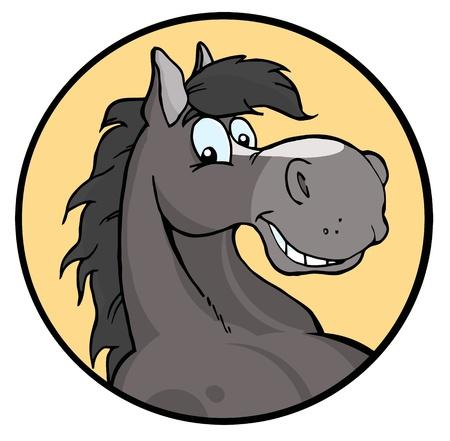 caballo caricatura: Feliz de dibujos animados caballo