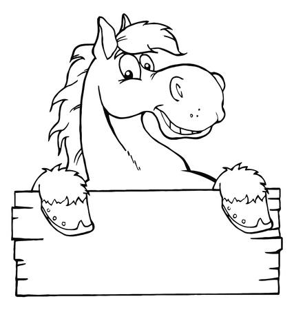 caballo caricatura: Esboz� el caballo de dibujos animados con un cartel en blanco