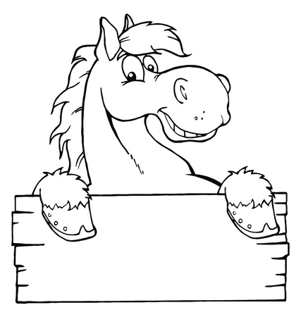 outlined isolated: Outlined Cartoon Horse With A Blank Sign