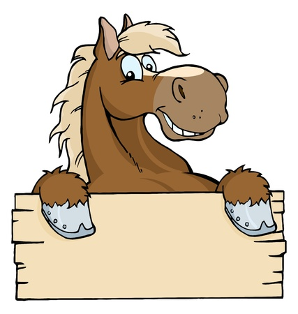 Happy Cartoon Horse With A Blank Sign  photo