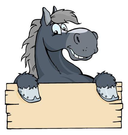 Cartoon Horse Label  photo