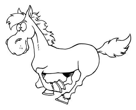 horse tail: Esboz� el caballo de Cartoon Running