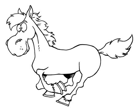 horse running: Outlined Cartoon Horse Running
