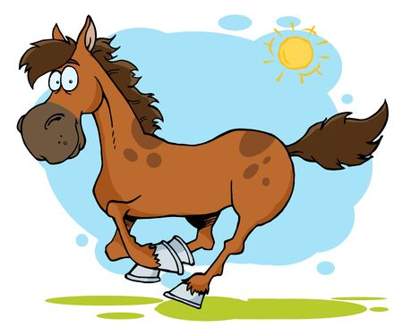 carreras de caballos: Galopante de dibujos animados caballo