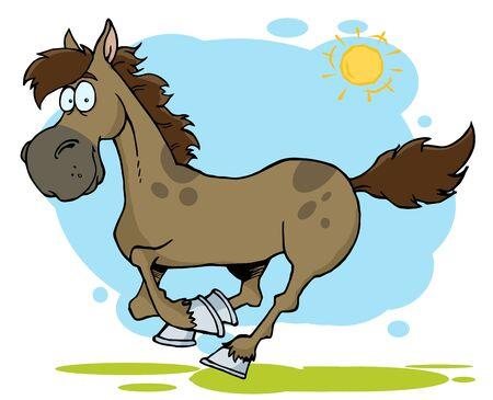 caballo caricatura: Ejecuci�n de caballo de dibujos animados  Foto de archivo