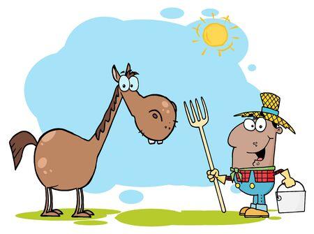 Agricultores de Estados Unidos con caballo marrón