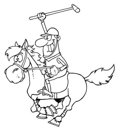 polo player: Outline Cartoon Polo Player  Stock Photo