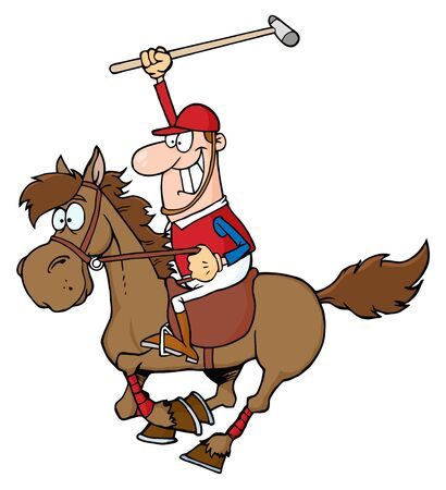 polo player: Caucasian Polo Player Holding Up A Stick