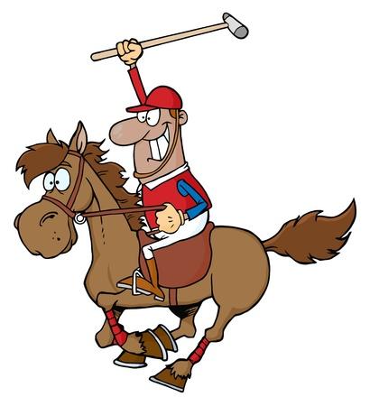Black Polo speler Holding Up A Stick Stockfoto