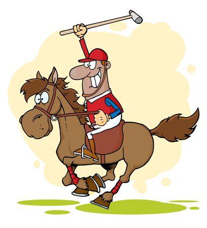 Hispanic Polo Player Holding Up A Stick