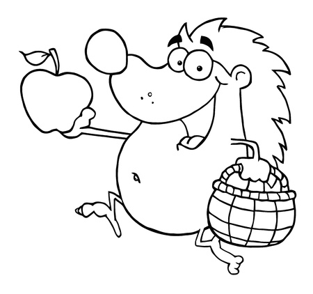 Outline Happy Hedgehog Runs With Apple  photo