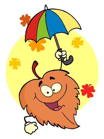 Leaf Cartoon Character With Umbrella