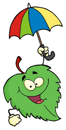 Green Leaf With Umbrella  Banco de Imagens