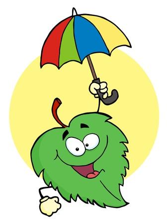 Happy Green Leaf With Umbrella