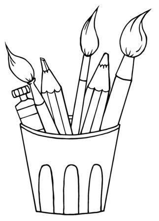 연필과 붓으로 윤곽선이 지정된 아티스트 냄비 스톡 콘텐츠