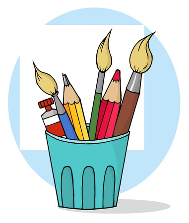 Artist Pot With Pencils And Paintbrushes  photo