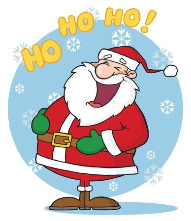 サンタ クロース、雪の中で笑う 写真素材