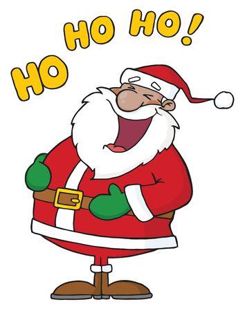 Lachen African American Santa Claus  Stockfoto