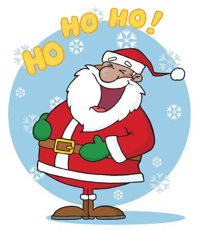 African American Santa Claus lachen In de sneeuw
