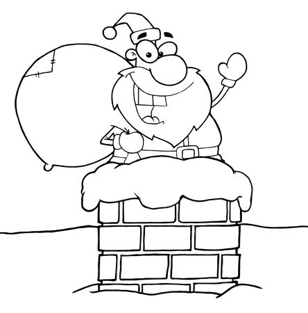 Outlined Santa Claus In Chimney photo