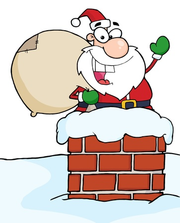clip art santa claus: Caucasian Santa In A Chimney And Waving Stock Photo