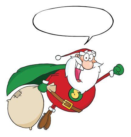 Super Santa Claus vliegen met tekstballon  Stockfoto