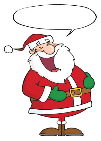 Laughs Santa Claus With Speech Bubble  Stock Photo - 8284114