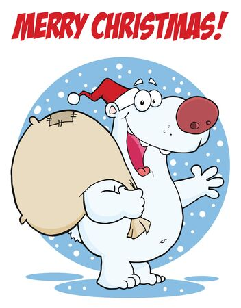 Merry Christmas Greeting With Polar Santa Bear  Stock Photo - 8284093
