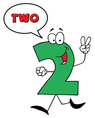 stock clipart icons: Friendly Number 2 Two Guy With Speech Bubble