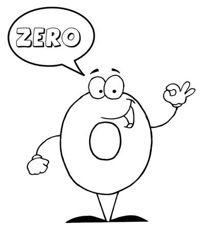 Outlined Friendly Number 0 Zero Guy With Speech Bubble  photo