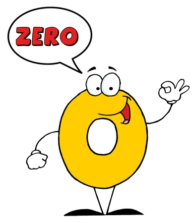 Friendly Number Zero Guy With Speech Bubble
