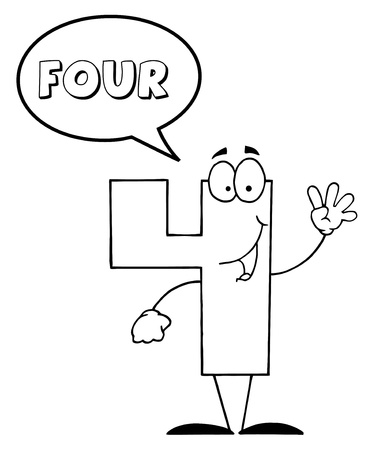 Outlined Friendly Number 4 Four Guy With Speech Bubble  스톡 콘텐츠