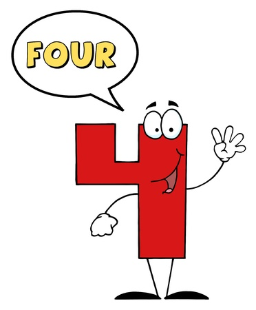 number cartoon: Friendly Number 4 Four Guy With Speech Bubble  Stock Photo