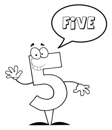 Outlined Friendly Number 5 Five Guy With Speech Bubble  photo
