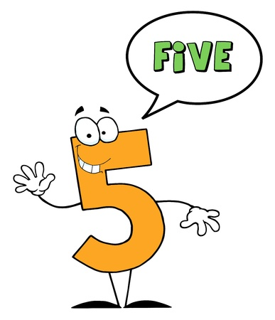 digital numbers: Friendly Number 5 Five Guy With Speech Bubble