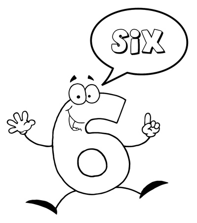Outlined Friendly Number 6 Six Guy With Speech Bubble  Standard-Bild