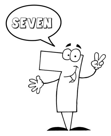 Outlined Friendly Number 7 Seven Guy With Speech Bubble  photo
